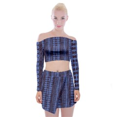 Wrinkly Batik Pattern   Blue Black Off Shoulder Top With Skirt Set