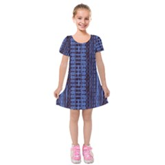 Wrinkly Batik Pattern   Blue Black Kids  Short Sleeve Velvet Dress