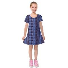 Wrinkly Batik Pattern   Blue Black Kids  Short Sleeve Velvet Dress