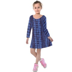 Wrinkly Batik Pattern   Blue Black Kids  Long Sleeve Velvet Dress