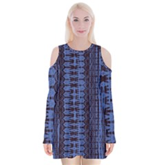 Wrinkly Batik Pattern   Blue Black Velvet Long Sleeve Shoulder Cutout Dress
