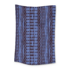Wrinkly Batik Pattern   Blue Black Small Tapestry