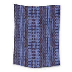Wrinkly Batik Pattern   Blue Black Medium Tapestry
