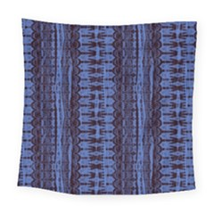 Wrinkly Batik Pattern   Blue Black Square Tapestry (large)