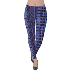 Wrinkly Batik Pattern   Blue Black Velvet Leggings