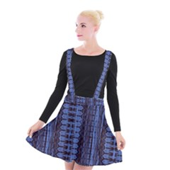 Wrinkly Batik Pattern   Blue Black Suspender Skater Skirt