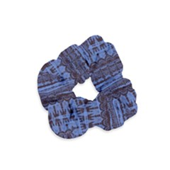 Wrinkly Batik Pattern   Blue Black Velvet Scrunchie