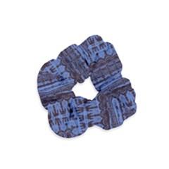 Wrinkly Batik Pattern   Blue Black Velvet Scrunchie