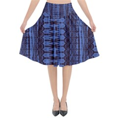 Wrinkly Batik Pattern   Blue Black Flared Midi Skirt