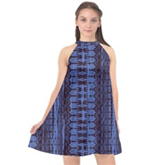 Wrinkly Batik Pattern   Blue Black Halter Neckline Chiffon Dress