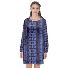 Wrinkly Batik Pattern   Blue Black Long Sleeve Chiffon Shift Dress