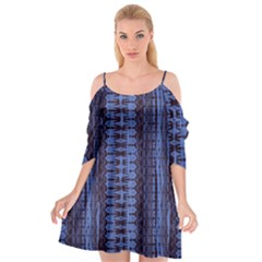 Wrinkly Batik Pattern   Blue Black Cutout Spaghetti Strap Chiffon Dress