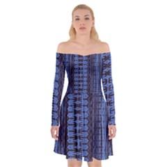 Wrinkly Batik Pattern   Blue Black Off Shoulder Skater Dress