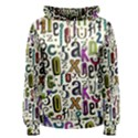 Colorful Retro Style Letters Numbers Stars Women s Pullover Hoodie View1