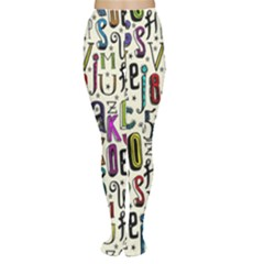 Colorful Retro Style Letters Numbers Stars Women s Tights