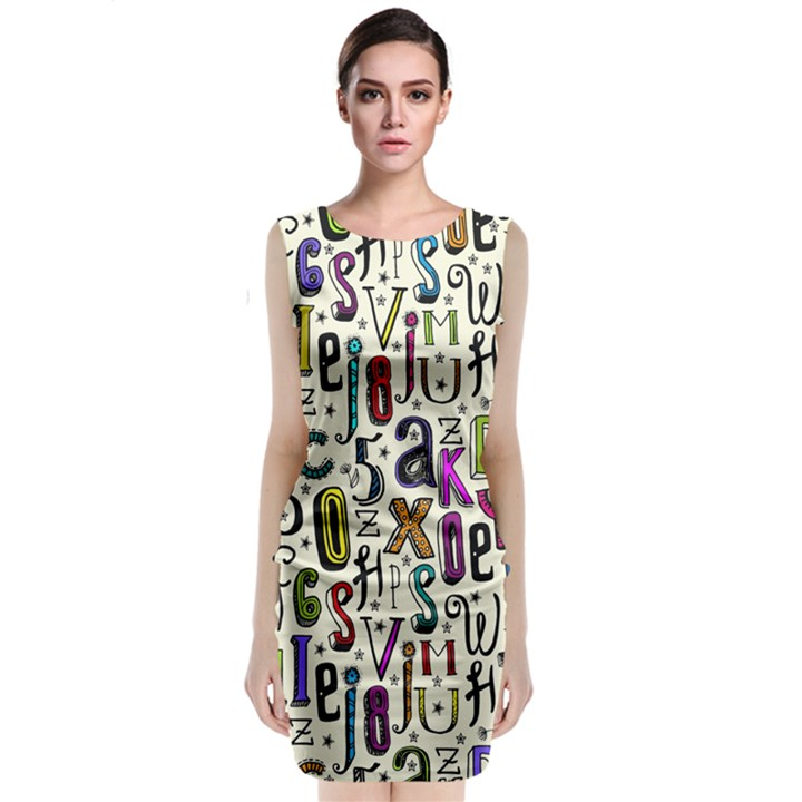 Colorful Retro Style Letters Numbers Stars Classic Sleeveless Midi Dress