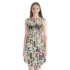 Colorful Retro Style Letters Numbers Stars Sleeveless Chiffon Dress