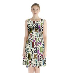 Colorful Retro Style Letters Numbers Stars Sleeveless Waist Tie Chiffon Dress