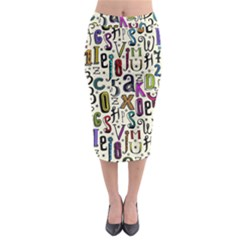 Colorful Retro Style Letters Numbers Stars Midi Pencil Skirt