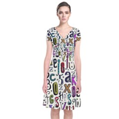 Colorful Retro Style Letters Numbers Stars Short Sleeve Front Wrap Dress