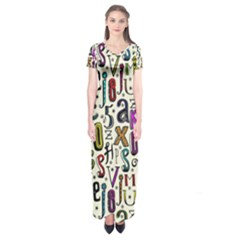 Colorful Retro Style Letters Numbers Stars Short Sleeve Maxi Dress