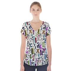 Colorful Retro Style Letters Numbers Stars Short Sleeve Front Detail Top