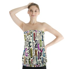 Colorful Retro Style Letters Numbers Stars Strapless Top