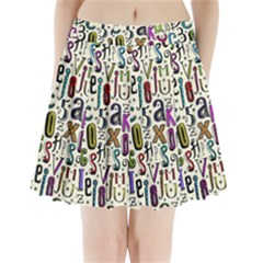 Colorful Retro Style Letters Numbers Stars Pleated Mini Skirt