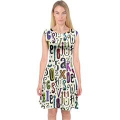 Colorful Retro Style Letters Numbers Stars Capsleeve Midi Dress