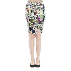 Colorful Retro Style Letters Numbers Stars Midi Wrap Pencil Skirt