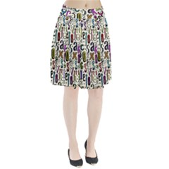 Colorful Retro Style Letters Numbers Stars Pleated Skirt