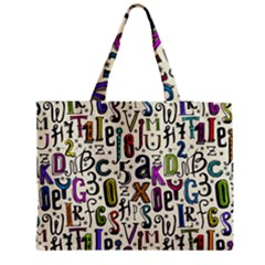 Colorful Retro Style Letters Numbers Stars Medium Tote Bag
