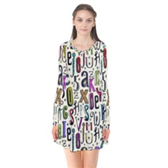 Colorful Retro Style Letters Numbers Stars Flare Dress