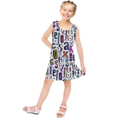 Colorful Retro Style Letters Numbers Stars Kids  Tunic Dress
