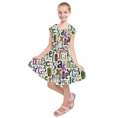 Colorful Retro Style Letters Numbers Stars Kids  Short Sleeve Dress