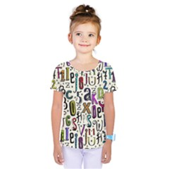 Colorful Retro Style Letters Numbers Stars Kids  One Piece Tee