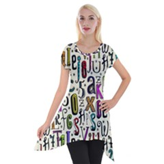 Colorful Retro Style Letters Numbers Stars Short Sleeve Side Drop Tunic