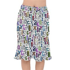 Colorful Retro Style Letters Numbers Stars Mermaid Skirt