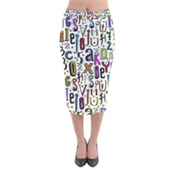 Colorful Retro Style Letters Numbers Stars Velvet Midi Pencil Skirt