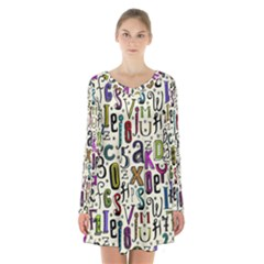 Colorful Retro Style Letters Numbers Stars Long Sleeve Velvet V Neck Dress