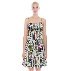 Colorful Retro Style Letters Numbers Stars Spaghetti Strap Velvet Dress