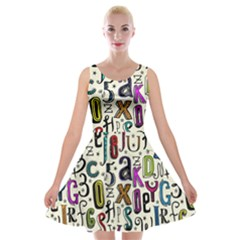 Colorful Retro Style Letters Numbers Stars Velvet Skater Dress