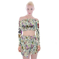 Colorful Retro Style Letters Numbers Stars Off Shoulder Top With Skirt Set
