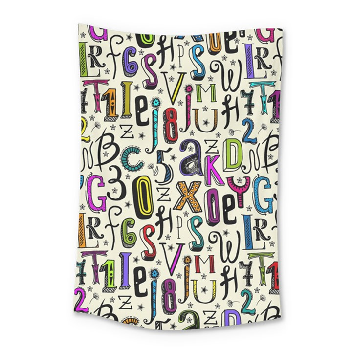 Colorful Retro Style Letters Numbers Stars Small Tapestry