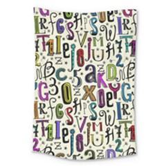 Colorful Retro Style Letters Numbers Stars Large Tapestry