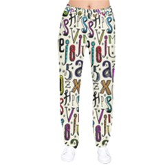 Colorful Retro Style Letters Numbers Stars Drawstring Pants