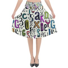 Colorful Retro Style Letters Numbers Stars Flared Midi Skirt
