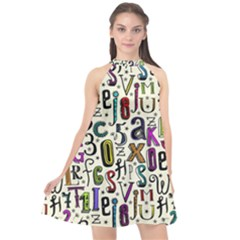 Colorful Retro Style Letters Numbers Stars Halter Neckline Chiffon Dress