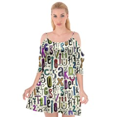 Colorful Retro Style Letters Numbers Stars Cutout Spaghetti Strap Chiffon Dress