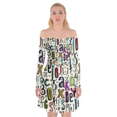 Colorful Retro Style Letters Numbers Stars Off Shoulder Skater Dress
